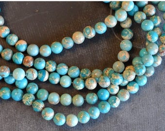 15% off SALE 6mm Regalite Aqua Terra Jasper Round Beads (16) Turquoise Blue Stone Beads Gemstone Bead, Impression Jasper