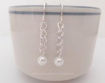 Silver Tone Pearl Earrings, Pearl Earrings. Drop Pearl Earrings, Bridesmaid Earrings Gift for Her, Bridal,Wedding Pearl Earrings
