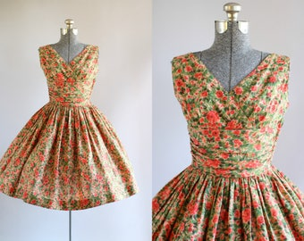 Vintage 1950s Dress / 50s Cotton Dress / Koret of California Pink and Red Floral Dress w/ Ruched Waist S