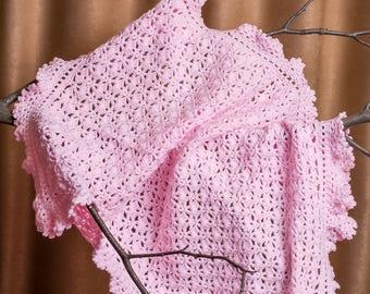 Crochet Baby Blanket With Lace Trim, Summer Blanket, Newborn Blanket, Baby Afghan, Baby Travel Stroller Pram, Victorian Lace Blanket