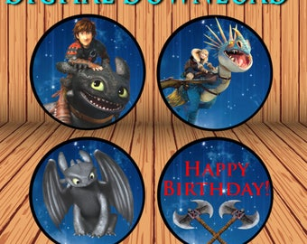 """How to train your dragon cupcake toppers! Digital download! Printable 2"""" circles!"""