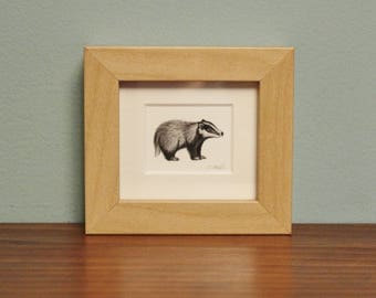 Badger Watercolour Painting - Animal - Framed Giclee print - Nature Art - Picture and gift for the home - Mini Frame - Winter Collection