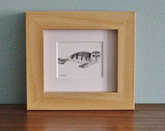 Harbour Seal Watercolour Painting - Framed Giclee print - Nature Art - Picture and gift for the home - Mini Frame - Ocean Collection