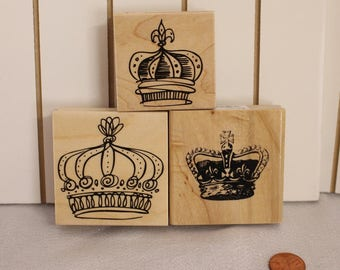 Crown rubber Stamp Set of Three Wood Stamp for Scrapbooking or Card Making Altered Art Royal Regal Crown