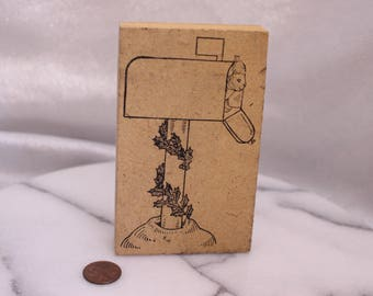 Vintage Mailbox with Squirrel and holly rubber Stamp Wood Stamp for Scrapbooking or Card Making Altered Art Home