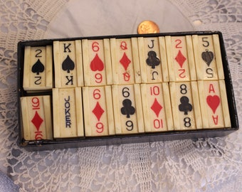 Vintage  Bakelite Playing Card tile set in Box 53 Tiles Spades, Hearts, Diamonds, and Clubs