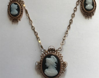 Victorian Hard Stone  3 Cameo Necklace