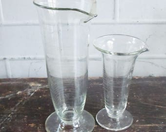 Science Glass / 2 Tapered Beakers from the 1940's / Pyrex Laboratory Glass / Great Scientific Decor and Style