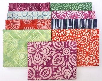 Latitude Batik Fat Quarter Bundle - Kate Spain - Moda Fabrics - 9 fat quarters - 100% Cotton - hand dyed, Blue, Green, Aqua, Orange