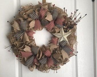 Primitive Wreath Primitive Burlap wreath Decor Front Door Decor Rustic Wreath Primitive Door Hanger