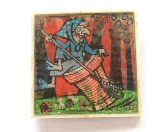 Baba Yaga and cat, Character from soviet cartoon, Holographic, Stereo, Soviet Vintage collectible badge, Made in USSR