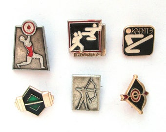 Sports, Pick from Set, Soviet Badge, Kinds of sport, Summer, Karate, Weightlifting, Vintage metal collectible pins, Made in USSR, 1980s