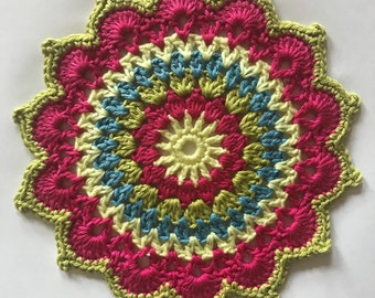 Crochet Mandala / Doily - Made with beautiful fine yarn with a slight sheen for a lovely finish