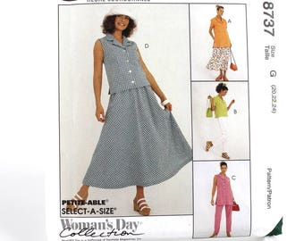 Large Easy Top Skirt and Pants Pattern, Uncut Sewing Pattern, McCalls 8737, Size 20-24
