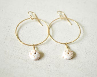 Puka Shell Hoop Earrings, Gold Hoop Earrings, Puka Shell Earrings, Hammered Hoops Gold