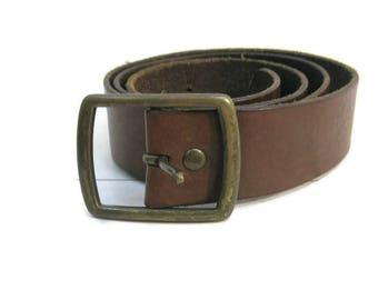 Vintage Leather Belt Brown 90s Gap Brass Buckle L 38 - 40