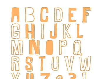 Alphabet stencil - Square 15 cm x 15 cm Format