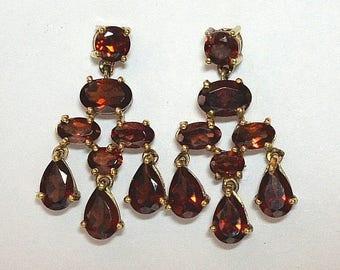 Vintage 14k Almandine Garnet Drop Dangle Earrings