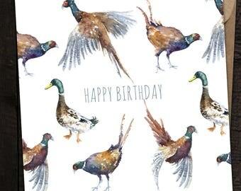 Duck, Duck, Pheasants Card, Fowl Birthday Card, Fowl, Country, British Wildlife, Watercolour Duck Card, Bird Card, Phesant, Pheasant & Duck