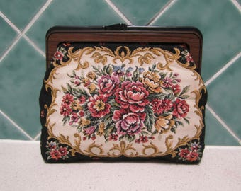 Vintage Tapestry Clutch Bag - Handbag - Wedding - Floral - 1960's - Handbag - Evening