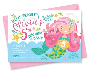 Mermaid Invitation, Printable, Customized, DIY invitation, Girl's Mermaid Party,  Pool Party, Pink Mermaid