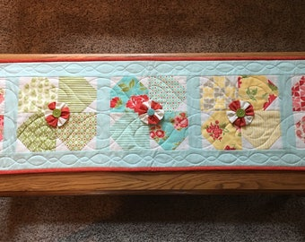 Table Runner, Handmade & Quilted with Twirling Flowers