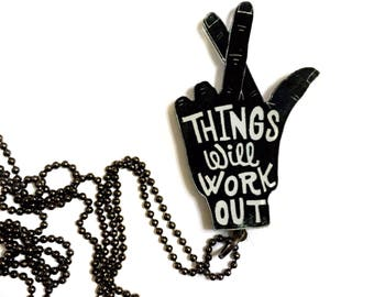 Things Will Work Out, Cheer Up, Don't Worry Long Necklace, Cross Fingers, Good Luck, Best Friend Gift, Take it Easy, The Hamsa hand, Hamesh