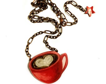 Coffee Mug Necklace, Coffee Lovers Gift Idea, Acrylic, Coffee with Love, Heart painting, Red, Brown, Collar, I love Coffee