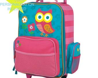 OWL Stephen Joseph Classic Rolling Luggage, Kids Luggage, Bookbag.