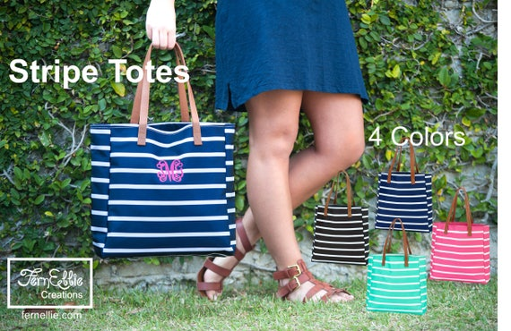 Personalized Stripe Totes, Monogrammed Totes, Bridesmaides Gifts, Monogram Bag