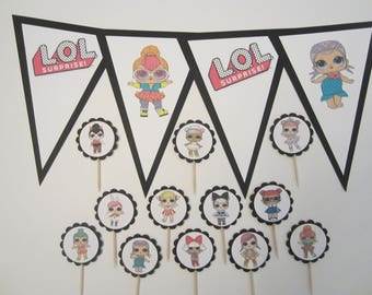 "LOL Dolls - ""HAPPY BIRTHDAY""Banner & 12 Cupcake/Food Toppers"