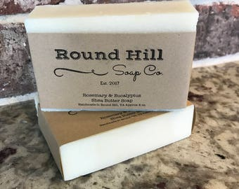 Natural Handmade Rosemary & Eucalyptus Shea Butter Soap
