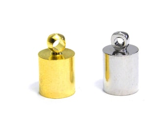 10x Large Brass Cord Ends 6 mm - Gold or Silver