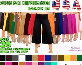 Flowy and Comfy Women's Capri Gaucho Pants Plus Sizes.