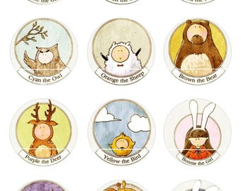 Sheep animal 12 Digital Images/designs for 30/25/20/18/16/15/14/12/10/8 mm cabochon round