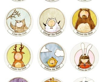 409 # sheep animal 12 Digital Images/designs for 30/25/20/18/16/15/14/12/10/8 mm cabochon round