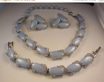 20% OFF SALE Vintage 1940s Kramer Light Sapphire Moonstone Thermoset Plastic Necklace Bracelet Clip Earrings Parure