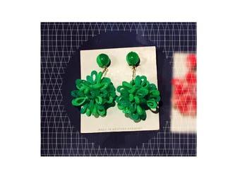Vintage Articulated Green Orb Atom Dangling Earrings, Western Germany