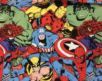 "100x110cm/39""x43"" Avengers Superhero Hulk Captain America Spiderman Iron Man Cotton Comics Fabrics"