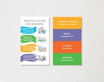 Rodan and Fields Business Cards, Rodan and Fields Skin Regimens, Printed Cards, Rodan and Fields Independent Consultant Business Card