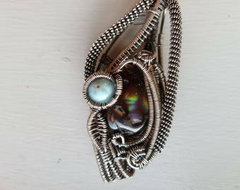 Wire Wrapped Jewelry Double Bailed Fire Agate and Larimar Wire wrap Pendant Handmade in Sterling Silver & Fine Silver