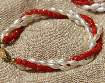 Coral bracelet genuine red and freshwater pearls, handmade