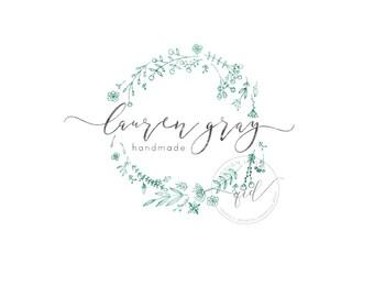 Premade logo design, business logo, premade logo design, custom logo design, branding package, custom logos photography watercolor wreath