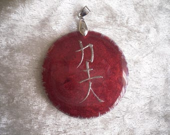 carmine red cabochon pendant / silver gray, symbol, handmade, high gloss