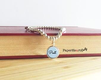 Poet Bracelet - Poet Charm Bracelet - Silver Poet Charm - Poetry Gift - Poet Jewelry - Poet Gift - (S3995)