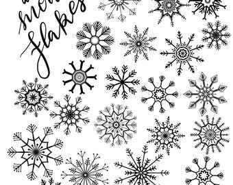 Snowflake Clipart, INSTANT DOWNLOAD, Christmas Snowflake Clip Art, Winter Snowflake Clipart, Commercial Use Clipart, Holiday Clip Art