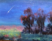 Night Sky, Tiny Art, Mini Painting, Landscape Painting, Mini Masterpiece, Small Art