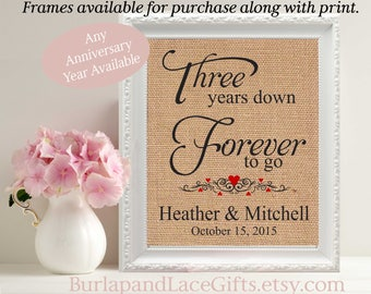 3rd, 3rd Anniversary, Gift for Her, Gift to Wife, Personalized Burlap, 3rd Anniversary Gift to Wife, Gift for Husband, Gift for Him (206-3)