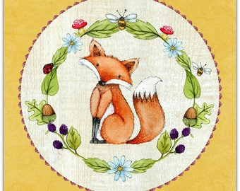 Double 'my little Fox' original design handmade card 14cm x 14cm