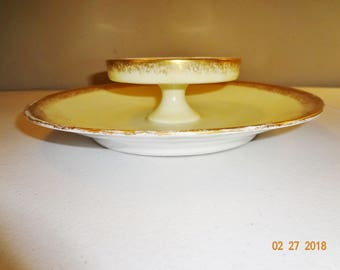 T&V Limoges France Vintage Tiered Serving Dish - 2 Tier Cream with Gold Trim Serving Dish